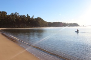 The private beach at Sapphire Sun Eco Holiday Village, Eden, NSW