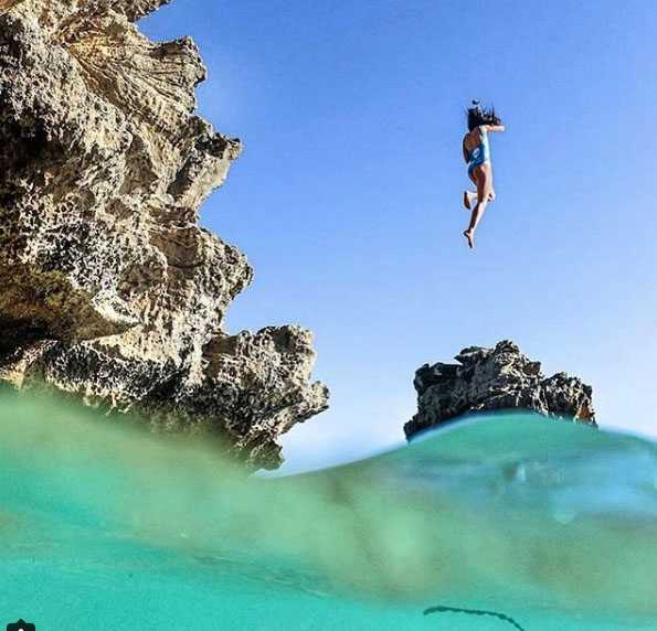 Cliff jumping at the Pillars, Mount Martha. Mornington Peninsula, Victoria, Australia. Photo: MollyHeath_Photographer