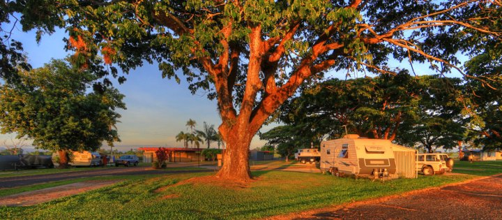 August Moon Caravan Park, Innisfail, Queensland, Australia. Grassy camp area.