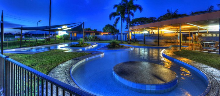 August Moon Caravan Park, Innisfail, Queensland, Australia. Tri-level partly shaded pool.