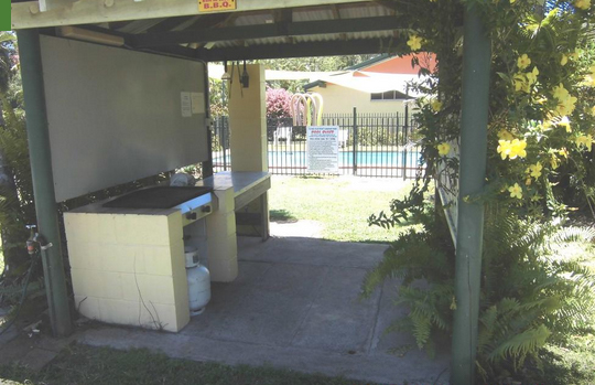 Covered BBQ area at Flying Fish Point tourist Park, Queensland, Australia.