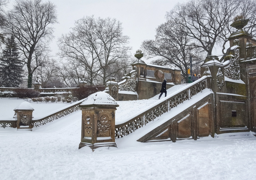 Snow covered stairs in New York City, Central Park, Bethesda Terrace.