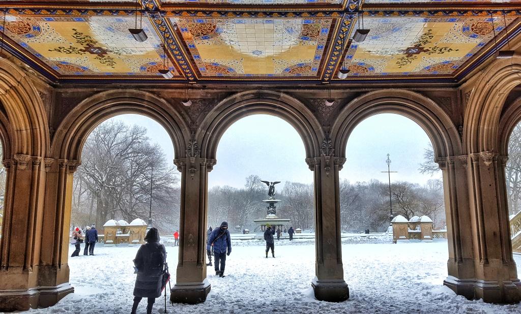 Snowing in New York Bethesda Terrace