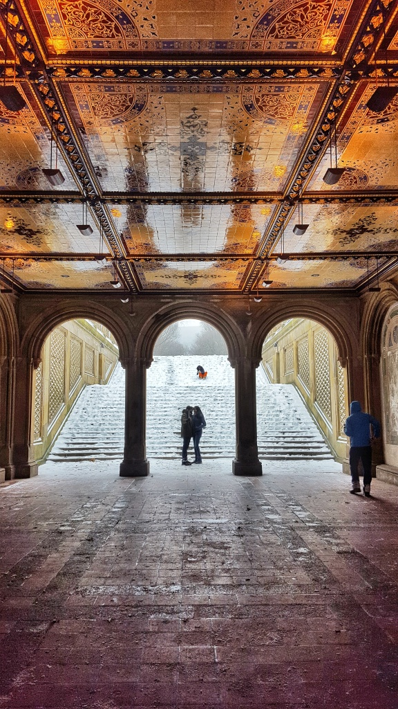 Bethesda Terrace in Central Park in winter.