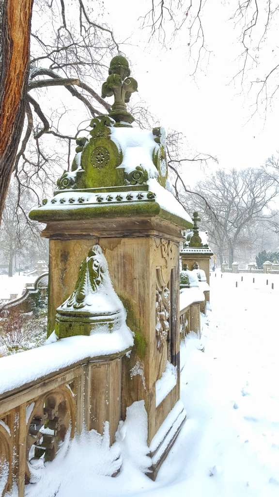 Moss, stone and snow, New York, Central Park, Bethesda Terrace.
