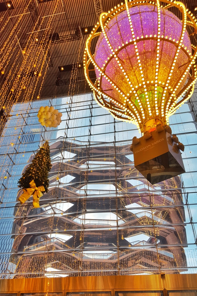 New York Christmas lights at Hudson Yards, The Shops.