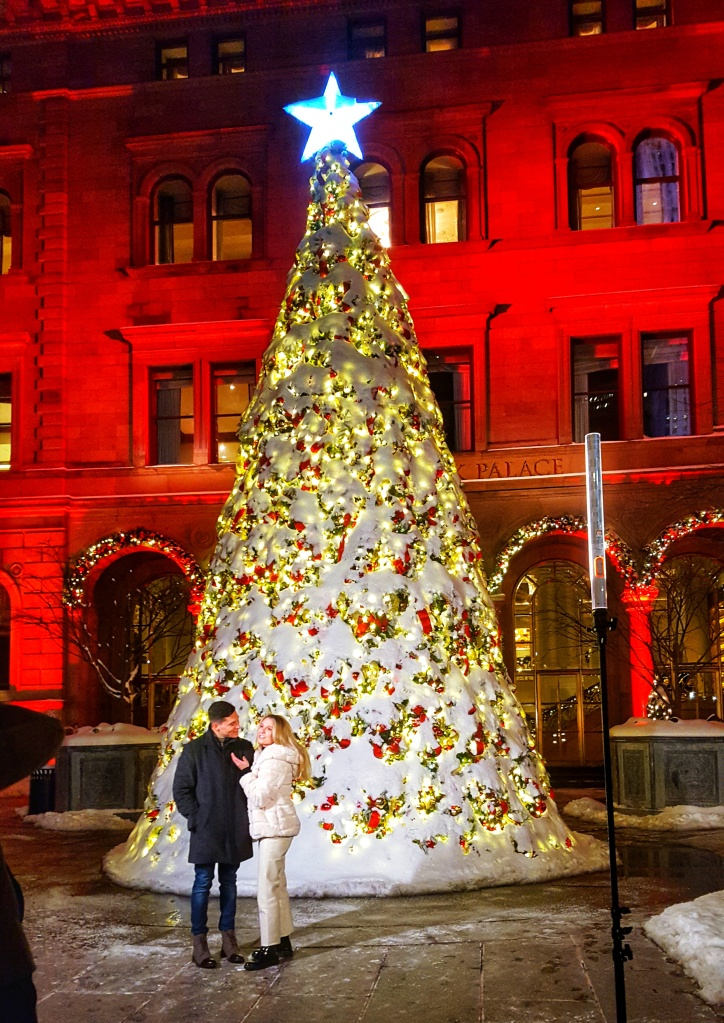 NYC Christmas tree -- Lotte New York Palace hotel with snow