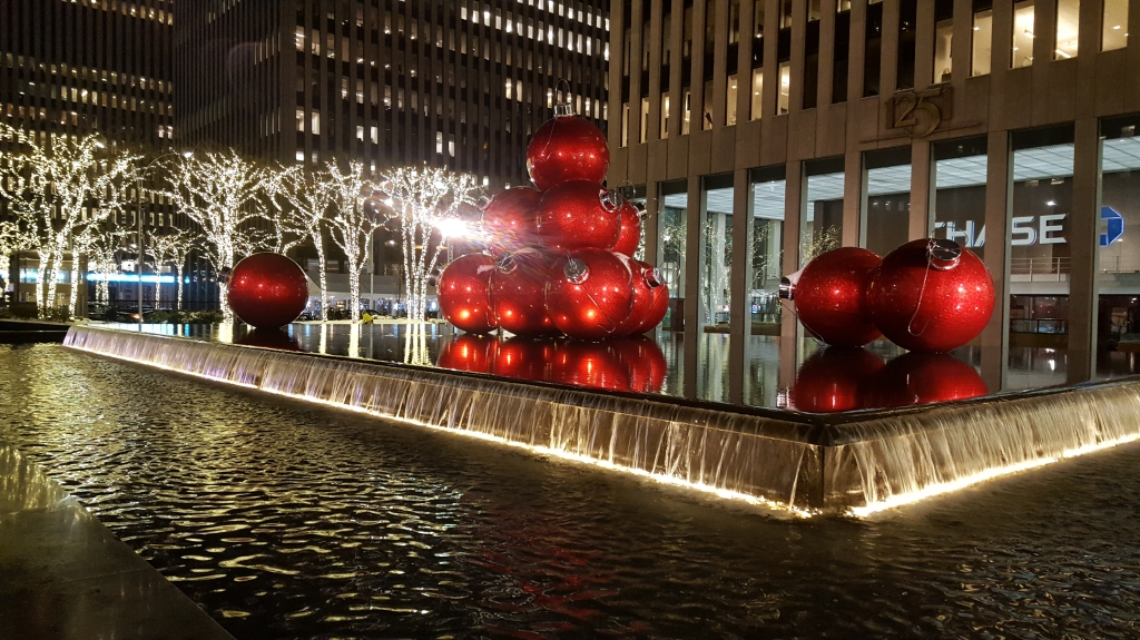 New York Christmas baubles, midtown Manhattan.